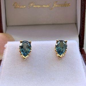 NEW 14KY London Blue Pear Shaped Stud Earrings